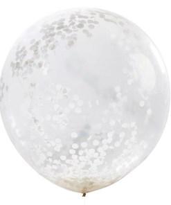 1 3ft Giant White Confetti latex balloon