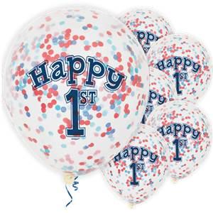 Happy 1st Birthday Blue Confetti Balloons BALL1774 V1fit300300ssl1