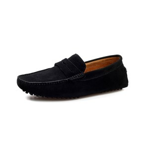 mens black penny loafers - suede soho penny loafers by london loafers