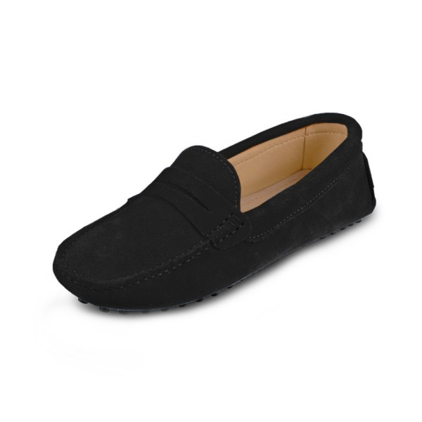 womens black suede penny loafers – soho loafers by london loafers 2