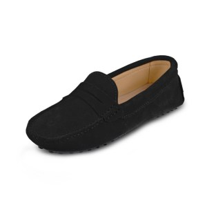 womens black suede penny loafers - soho loafers by london loafers 2