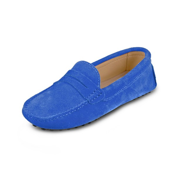 womens blue suede penny loafers – soho loafers by london loafers