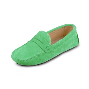 womens green suede penny loafer - soho shoe by london loafers