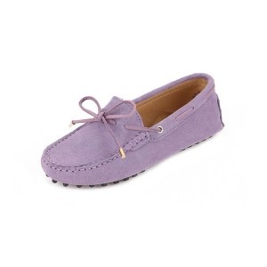 womens lilac suede lace up driving shoes - kensington shoe by london loafers