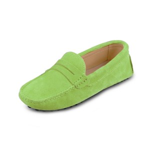 womens lime suede penny loafer - soho shoe by london loafers