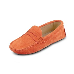 womens orange suede penny loafer – soho shoe by london loafers
