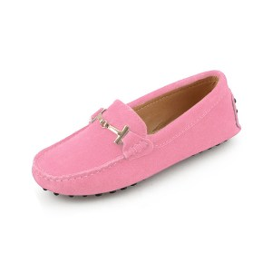 womens pink suede horsbit driving shoes - windsor shoe by london loafers