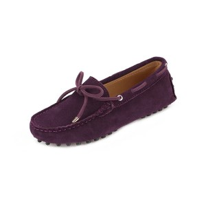 womens purple suede lace up driving shoes - kensington shoe by london loafers