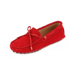 womens red suede lace up driving shoes - kensington shoe by london loafers