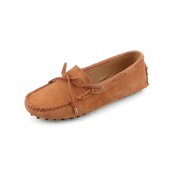 womens tan suede lace up driving shoes – kensington shoe by london loafers