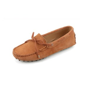 womens tan suede lace up driving shoes - kensington shoe by london loafers