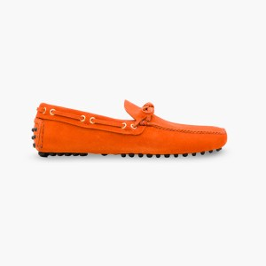 Mens Orange Classic Driving Shoes - Mens Driving Loafers By London Loafers - Suede Loafers For Men3