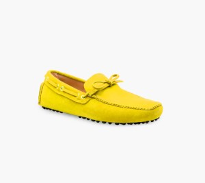 Mens Yellow Classic Driving Shoes – Mens Driving Loafers By London Loafers – Suede Loafers For Men4