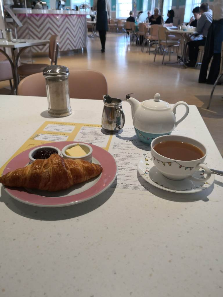 Coffee and croissant at Fortnum & Mason