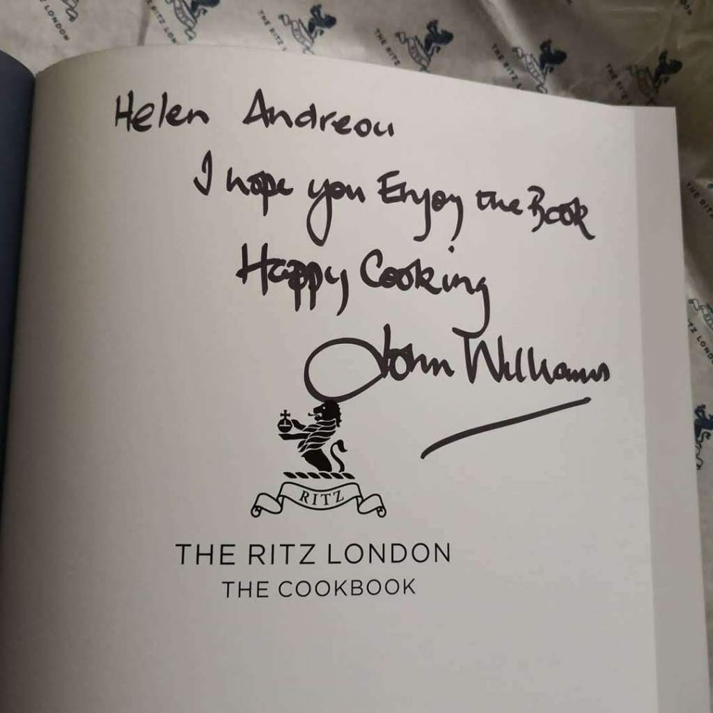 Ritz cookbook signed by John Williams chef