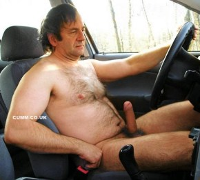 daddy nude driving with an erection