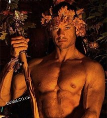 pink flowers man naked