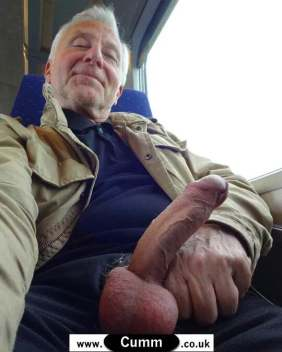 silver daddy displays his huge erect penis