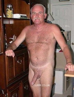 silver daddy shows his big soft cock
