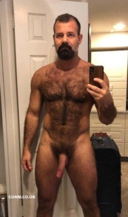 hairy chest daddy shows his big cock