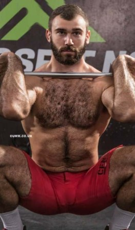 sportsman naked hairy chest