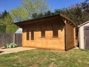Bespoke Wembley Log Cabin in the style of WEM020, 5m x 3m in 44mm logs.