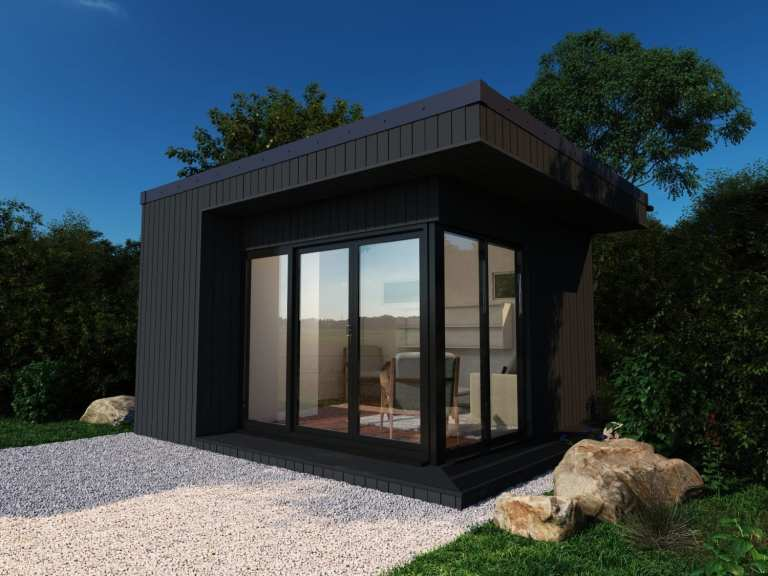 The Mayfair Garden Room shown with composite cladding