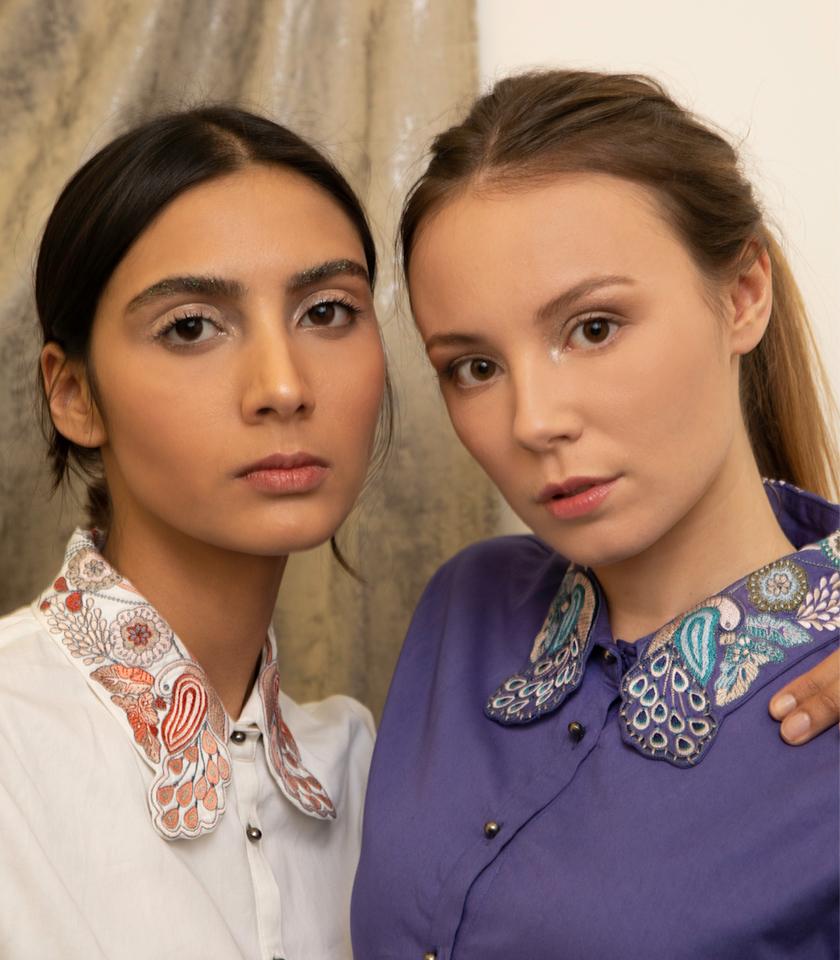 Chemises ami brodé a la main en coton biologique vegan blanche et violette