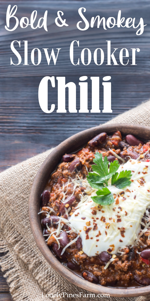 This smokey slow cooker chili takes the classic dish to a whole new level. Such an easy, yet flavorful, weeknight meal that will blow the family away! Combine simple ingredients - like beans, garden-fresh vegetables, and ground beef or wild game - for a cozy, hearty dinner on a dreary fall day.