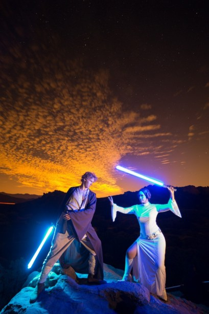 Luke and Leia with Lightsabers at Vasquez Rocks