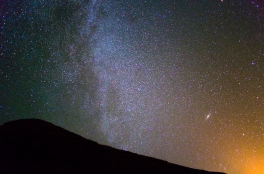 The North Milky Way and the Galaxy Andromeda from Kaena Point