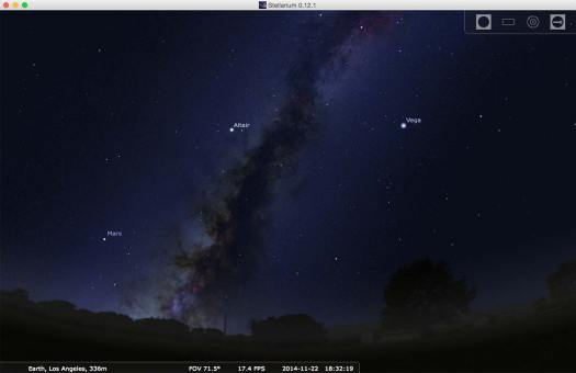 Screenshot of Stellarium, a great tool for planning Milky Way photography.