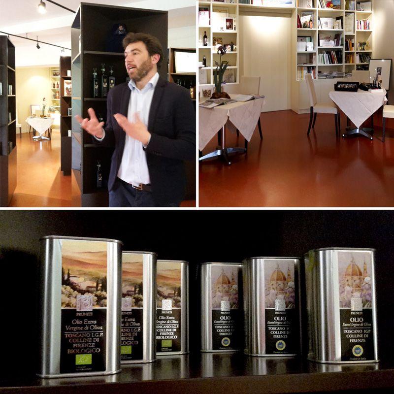 Paolo Pruneti, la sala delle degustazioni, l'olio extravergine IGP Colline Toscane di Pruneti