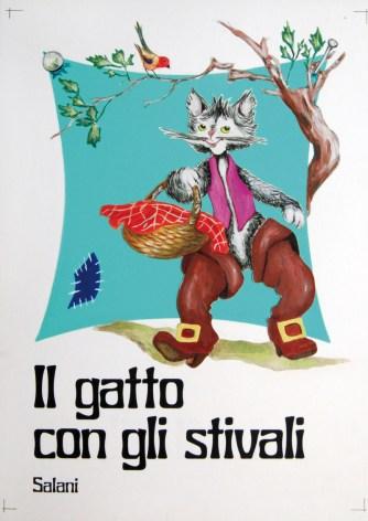 Roberto Forconi, Il Gatto con gli Stivali, copertina 1977, acquerello, tempera su cartoncino