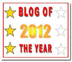 Blog of the Year Award - 3 stars (January 2013) Nominated by Shauna Hicks, Helen Smith, and