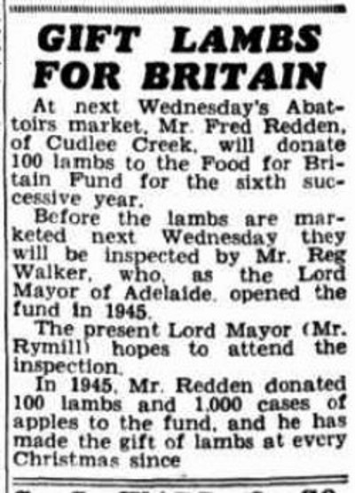 GIFT LAMBS FOR BRITAIN. (1950, December 14). News (Adelaide, SA : 1923 - 1954), p. 12. Retrieved December 24, 2013, from http://nla.gov.au/nla.news-article130282191