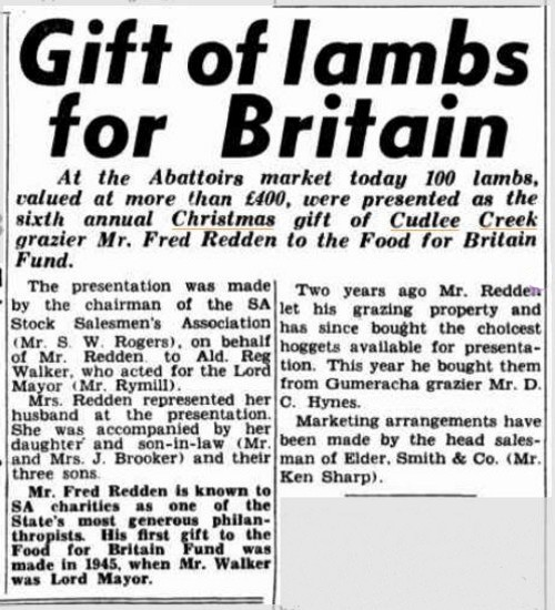 Gift of lambs for Britain. (1950, December 20). News (Adelaide, SA : 1923 - 1954), p. 21. Retrieved December 24, 2013, from http://nla.gov.au/nla.news-article130287157