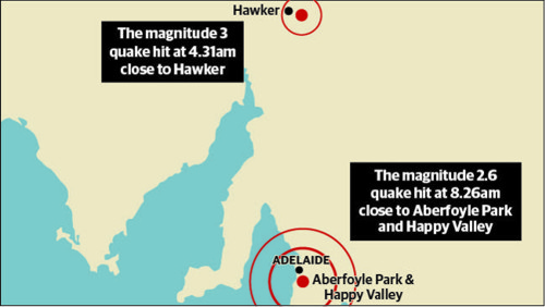A graphic showing the epicentres of the quakes that hit South Australia. Source: The Advertiser