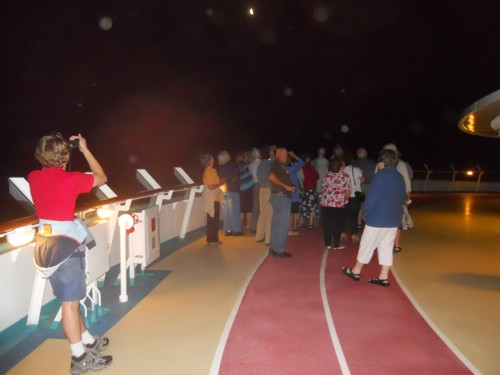 up on Deck 11 (the running track), looking at the night sky