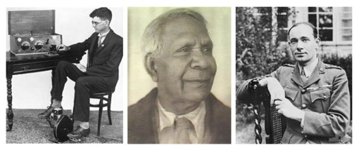 L-R: Alfred Trager, David Unaipon and Hubert Wilkins