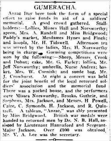 GUMERACHA. 6 June 1921, The Mount Barker Courier and Onkaparinga and Gumeracha Advertiser, p. 3. http://nla.gov.au/nla.news-article146431159,