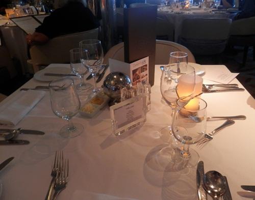 dinner setting in the Moonlight Sonata restaurant