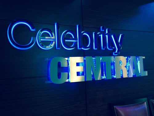 the sign to the Celebrity Central room, one of the conference rooms