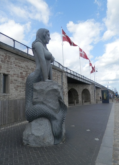 """Copenhagen is famous for its """" Little Mermaid"""" statue - this is a new, big one (8""""high) that is at the docks"""