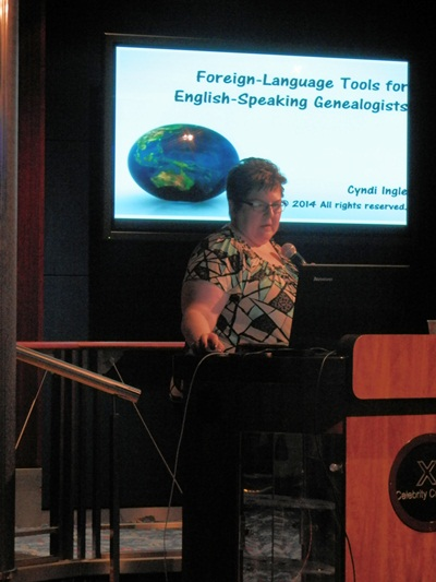 Cyndia talking on Forgein-Language Tools for English-Speaking Genealogists