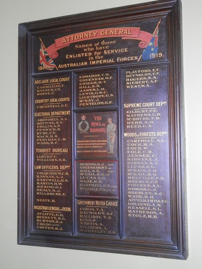 one of the three Honour Boards in the old Treasury Building, Adelaide