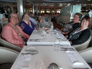 one end of our formal dinner table:Judy G. Russell, Helen Smith, Jennie Fairs, Maureen Trotter