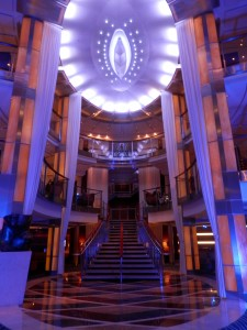 the Celebrity Solstice grand staircase at night
