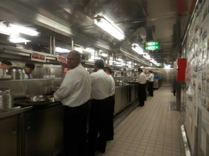 one of the galley (food preparation) sections onboard