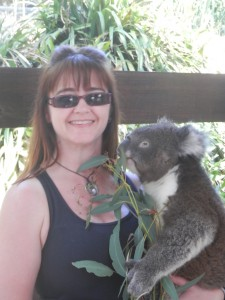 "Alona Tester with ""Kevin"" the koala"